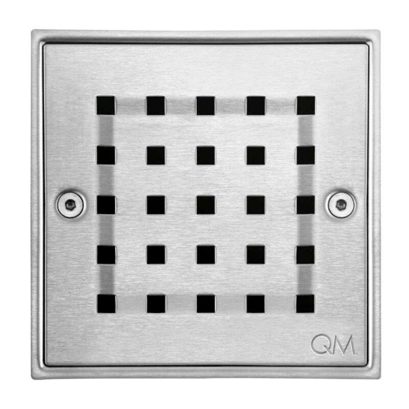 """Imagen de Desagüe central RIA cuadrado 5.3/4"""" X 5.3/4"""" QM RIA SATIN by Quality Metal"""