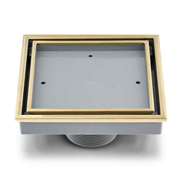 """Imagen de Desagüe central (inserto de baldosa) veil 4""""x$ QM VEIL GOLD by Quality Metal"""